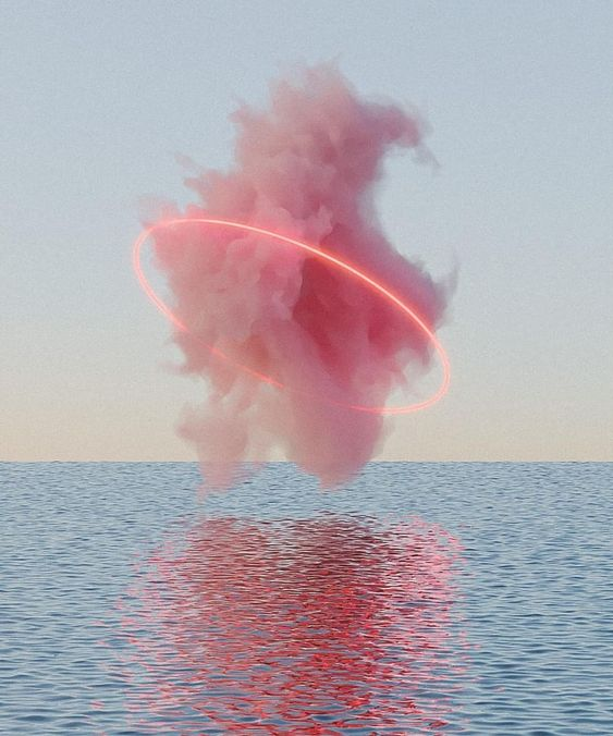 pink cloud over water